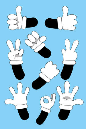 Cartoon hands. animated hands show different gestures. Cute gloved hand collection
