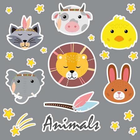Cute animals. Hand drawn characters. Bow, bunny, chick, lion, raccoon, elephant. Vektorgrafik
