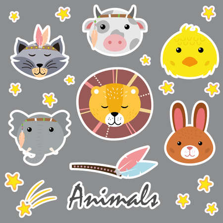Cute animals. Hand drawn characters. Bow, bunny, chick, lion, raccoon, elephant.
