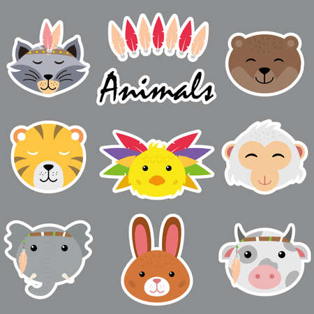 Set of different cute cartoon animal faces isolated on white background for stickers, cards, labels and tags.