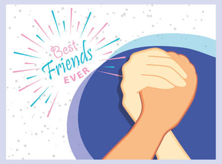 Friends forever greeting card design with hands shaking. Usable as greeting cards, posters. Best friends forever.