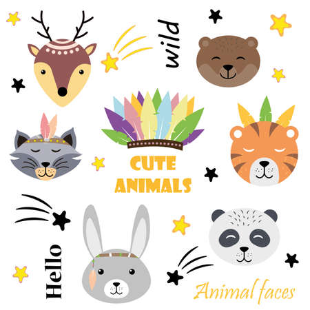 Cute animals hare, deer, bear, tiger, panda, raccoon. Hand drawn