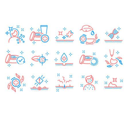 Dermatology icon. Skin care line icons.