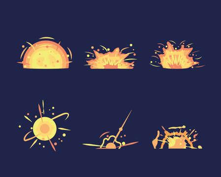 Key frames of bomb explosion. Bomb explosion and cartoon bang burst dynamite. Explosion animation in storyboard. Energy detonating explosives Ilustração