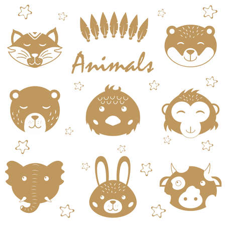 Cute animals. Hand drawn characters. Bow, bunny, chick, lion, raccoon, elephant, bear, monkey
