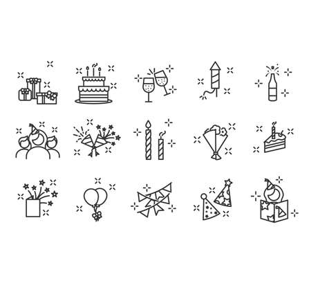 Premium set of party line icons. Happy Birthday Party. Confetti, Cocktail, Guitar, Beer, Gift, Flag Balloon Firework Party Hat Disco Ball and more