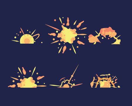 Cartoon explosion boom storyboard comics game design. Comic boom effects.  Red dynamite cloud and boom.