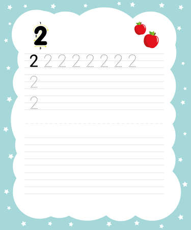 Writing practice number two printable worksheet for preschool. Pictured two apples