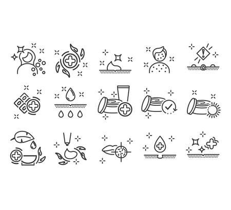 Dermatology icons. Paraben chemical formula icons.