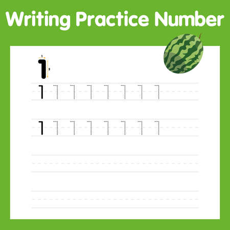 The practice of writing a worksheet. A leaf shows one watermelon. kindergarten kids to improve basic writing skills