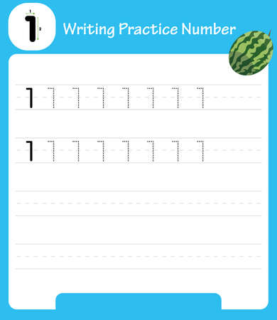 The practice of writing a worksheet. A leaf shows one watermelon. kindergarten kids to improve basic writing skills Vector Illustration