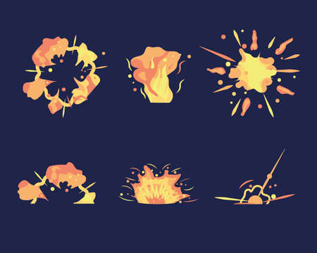 Cartoon explosion. Exploding bomb, atomic explode effect and comic explosions. Animation for game of the explosion effect