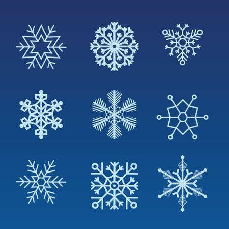 Winter set of white snowflakes isolated on dark background. Winter blue christmas snow flake crystal element. Vektorové ilustrace