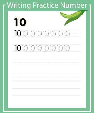 Writing practice 10 to print a sheet for preschool. ten peas Иллюстрация