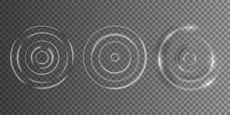 Realistic caustic drop or sound wave splash effects, concentric circles in puddle.White sound impact effect top view.