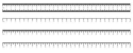 Metric Imperial Rulers. Centimeter. Measuring tool. Measurements scale measurable yardstick tape measures length meter precision tools centimeter millimeters calibration Vecteurs