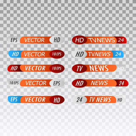TV broadcast lower third banner template. TV title news bar logos, news feeds, television, radio channels. Banner of live television broadcast media