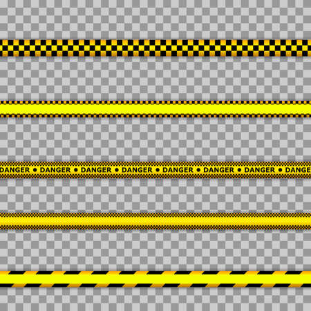 Crime scene yellow tape, police line Do Not Cross tape. Lines isolated. Warning tapes. Caution