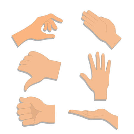 Set of hands in different gestures , hand showing signal or sign collection. Vector hands showing and pointing, holding and representing