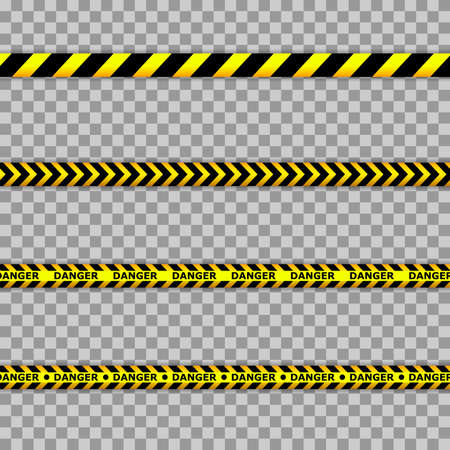 Caution lines isolated. Warning tapes. Danger signs. Black and yellow line striped.