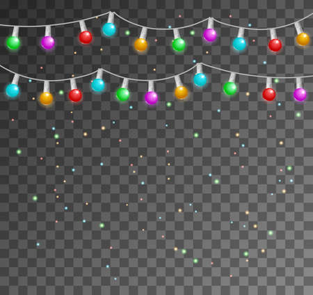 Christmas lights isolated realistic design elements. Glowing lights for Xmas. Christmas lights. Colorful Xmas garland.