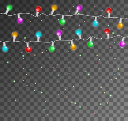 Garlands, Christmas decorations lights effects. Glowing lights for Xmas Holiday cards. Garlands decorations. 向量圖像