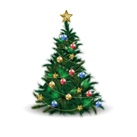 Christmas tree with Xmas star, balls and lights. New Year holidays vector design.  Green fir or pine
