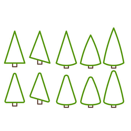 Christmas tree line for holiday xmas and new year. Collection of Christmas trees, modern flat design. Illustration
