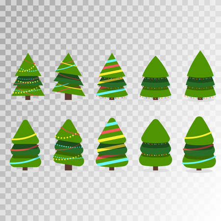 Christmas trees, pines for greeting card, invitation,banner, web. Christmas trees collection. Vector illustration EPS10