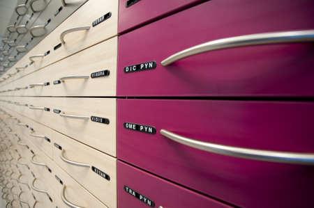 pharmacy cabinet Standard-Bild
