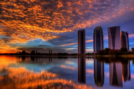 east coast: View of Putrajaya Building at sunset