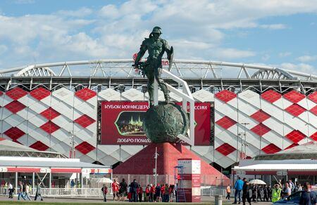 MOSCOW, RUSSIA - June, 18, 2017 The sculpture of the gladiator in the square in front of the Spartak stadium in Moscow, where the matches of the FIFA Confederations Cup 2017 and the 2018 FIFA World Cup will be held. Editorial