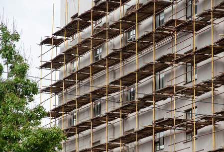 Scaffolding on one of the buildings in Moscow. Stock Photo