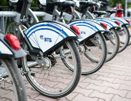 MOSCOW, RUSSIA - June, 24, 2017 Parking Bicycle rental on Sokolnicheskaya square in Moscow.
