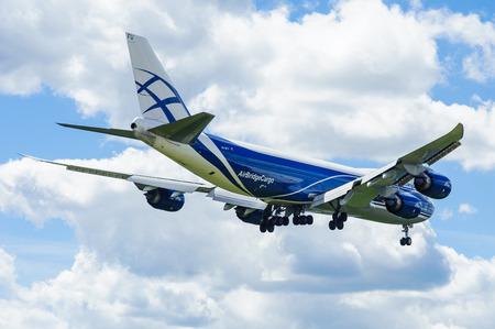 boeing 747: SHEREMETYEVO, MOSCOW REGION, RUSSIA - June 28, 2017: Boeing 747-8F of AirBridgeCargo Airlines makes a landing at Sheremetyevo International Airport.