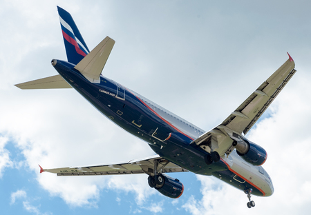 airfield: SHEREMETYEVO, MOSCOW REGION, RUSSIA - June 28, 2017: Airbus A320 of Aeroflot Airlines makes a landing at Sheremetyevo International Airport.