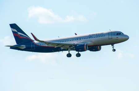 airstrip: SHEREMETYEVO, MOSCOW REGION, RUSSIA - June 28, 2017: Airbus A320 of Aeroflot Airlines makes a landing at Sheremetyevo International Airport.