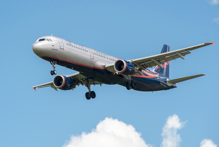 airfield: SHEREMETYEVO, MOSCOW REGION, RUSSIA - June 28, 2017: Airbus A321 of Aeroflot Airlines in the livery in the symbolism of the Manchester United Football Club makes a landing at Sheremetyevo International Airport.