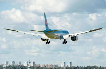 airstrip: SHEREMETYEVO, MOSCOW REGION, RUSSIA - June 28, 2017: Boeing 777-FB5 of Korean Air Cargo Airlines makes a landing at Sheremetyevo International Airport.