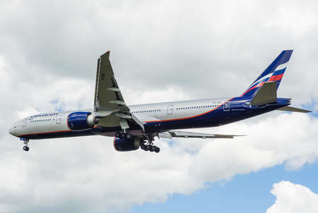 airfield: SHEREMETYEVO, MOSCOW REGION, RUSSIA - June 28, 2017: Boeing 777-300ER of Aeroflot Airlines makes a landing at Sheremetyevo International Airport.