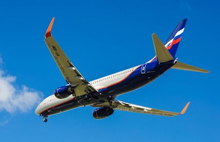 airfield: SHEREMETYEVO, MOSCOW REGION, RUSSIA - June 28, 2017: Boeing 737-800 of Aeroflot Airlines makes a landing at Sheremetyevo International Airport.