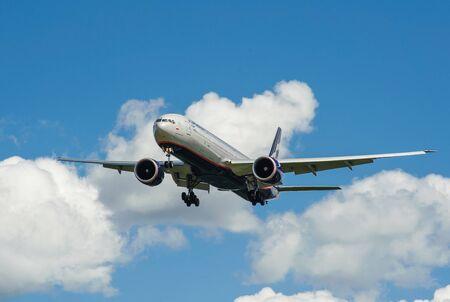 SHEREMETYEVO, MOSCOW REGION, RUSSIA - June 28, 2017: Boeing 777-300ER of Aeroflot Airlines makes a landing at Sheremetyevo International Airport.