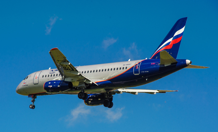 SHEREMETYEVO, MOSCOW REGION, RUSSIA - June 28, 2017: Sukhoi Superjet 100 (SSJ 100-95B) of Aeroflot Airlines makes a landing at Sheremetyevo International Airport. Editorial