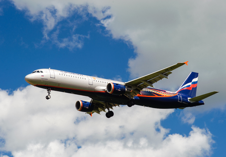 SHEREMETYEVO, MOSCOW REGION, RUSSIA - June 28, 2017: Airbus A321 of Aeroflot Airlines in the livery in the symbolism of the Manchester United Football Club makes a landing at Sheremetyevo International Airport.
