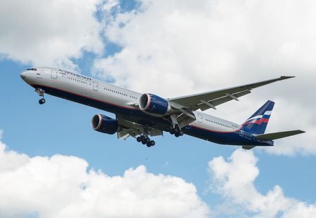 SHEREMETYEVO, MOSCOW REGION, RUSSIA - June 28, 2017: Boeing 777-300ER of Aeroflot Airlines makes a landing at Sheremetyevo International Airport.