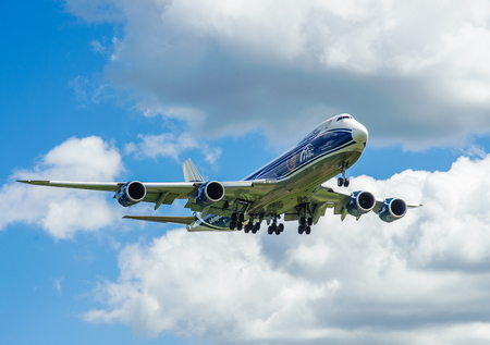airstrip: SHEREMETYEVO, MOSCOW REGION, RUSSIA - June 28, 2017: Boeing 747-8F of AirBridgeCargo Airlines makes a landing at Sheremetyevo International Airport.