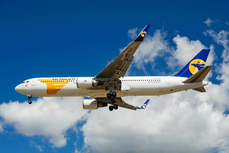 airfield: SHEREMETYEVO, MOSCOW REGION, RUSSIA - June 28, 2017: Boeing 767-300 ER of MIAT Mongolian Airlines makes a landing at Sheremetyevo International Airport.