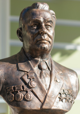 September 23, 2017 Moscow Russia Bust of General Secretary of the CPSU Central Committee Leonid Brezhnev made by Zurab Tsereteli on the Rulers Alley in Moscow.