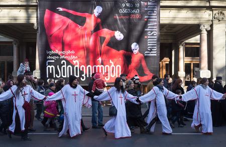 January 7, 2014. Tbilisi, Georgia. The participants of the Christmas procession Alilo on the Avenue named after Shota Rustaveli in Tbilisi. Editorial