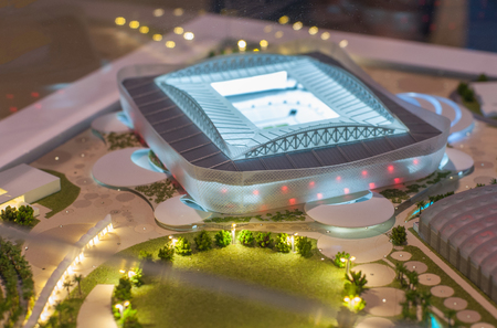 December 4, 2017 Moscow, Russia. The mock-up of the Al Rayyan Stadium at which the matches of the FIFA World Cup 2022 in Qatar will be held. Editorial